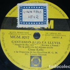 Discos de pizarra: DISCO 78 RPM - MGM - GENE KELLY - FILM - CANTANDO BAJO LA LLUVIA - BROWN - FREED - JAZZ - PIZARRA. Lote 186413091