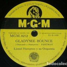 Discos de pizarra: DISCO 78 RPM - MGM - LIONEL HAMPTON - ORQUESTA - COOL TRAIN - GLADYSEE BOUNCE - FOXTROT - PIZARRA. Lote 186433318