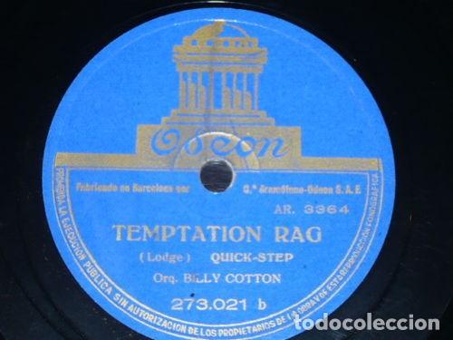 DISCO 78 RPM - ODEON - BILLY COTTON - ORQUESTA - TEMPTATION RAG - NEW JIG RHYTHM - FOXTROT - PIZARRA (Música - Discos - Pizarra - Jazz, Blues, R&B, Soul y Gospel)