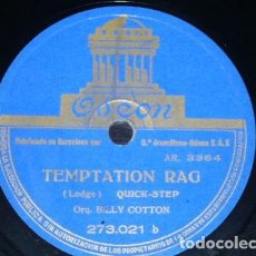 Discos de pizarra: DISCO 78 RPM - ODEON - BILLY COTTON - ORQUESTA - TEMPTATION RAG - NEW JIG RHYTHM - FOXTROT - PIZARRA. Lote 186749890