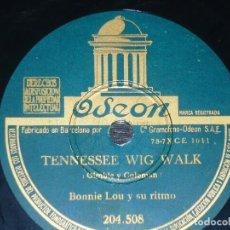 Discos de pizarra: DISCO 78 RPM - ODEON - BONNIE LOU - FUERA DE MI ALCANCE - TENNESEEWIG WALK - JAZZ - PIZARRA. Lote 186795855