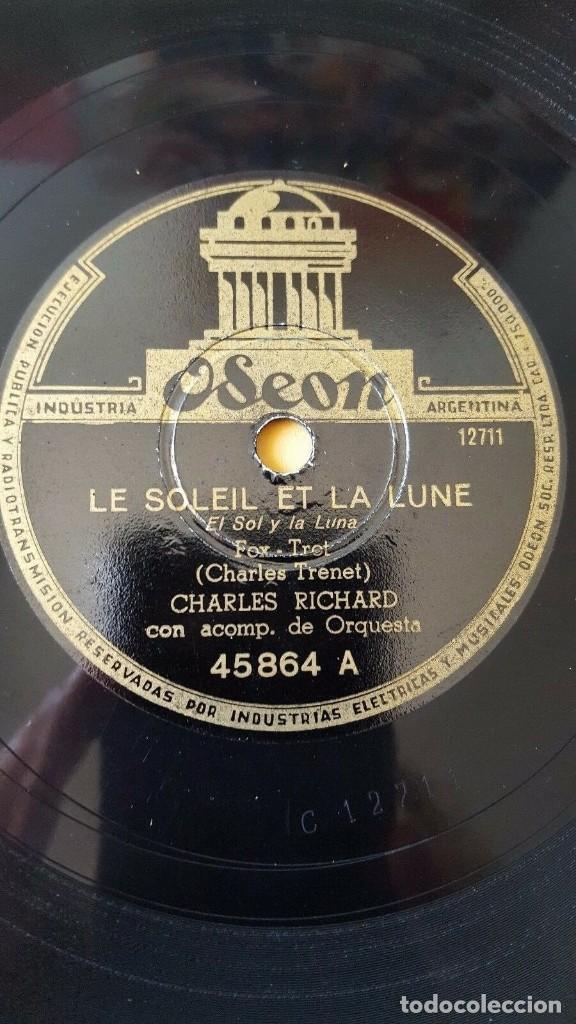 DISCO 78 RPM - ODEON - CHARLES RICHARD - LE SOLEIL ET LA LUNE - CHARLES TRENET - FOXTROT - PIZARRA (Música - Discos - Pizarra - Jazz, Blues, R&B, Soul y Gospel)