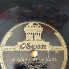 Discos de pizarra: DISCO 78 RPM - ODEON - CHARLES RICHARD - LE SOLEIL ET LA LUNE - CHARLES TRENET - FOXTROT - PIZARRA. Lote 186832273
