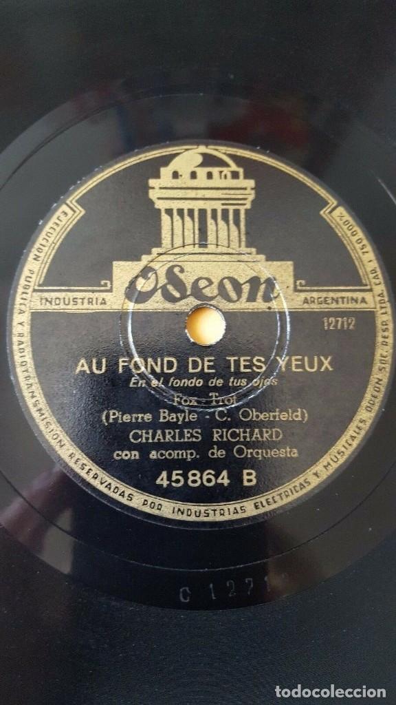 Discos de pizarra: DISCO 78 RPM - ODEON - CHARLES RICHARD - LE SOLEIL ET LA LUNE - CHARLES TRENET - FOXTROT - PIZARRA - Foto 2 - 186832273