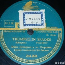 Discos de pizarra: DISCO 78 RPM - ODEON - DUKE ELLINGTON - ORQUESTA - TRUMPET IN SPADES - RAPSODIA PEREZOSA - PIZARRA. Lote 186978538