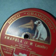 Discos de pizarra: DISCO DE PIZARRA : MIGUEL FLETA - AMAPOLA + BIMBA . Lote 187385581