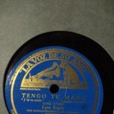 Discos de pizarra: DISCO DE PIZARRA : LYSE ROGER : TENGO TU MANO ( CHARLES TRENET ) + LA CAPILLA AL CLARO DE LUNA. Lote 187386077
