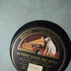 Discos de pizarra: DISCO DE PIZARRA : ORFEO CATALA DE BARCELONA : LA PASSIÓ SEGONS SANT MATEU ( BACH ). Lote 187386697