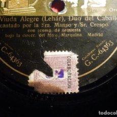 Discos de pizarra: DISCO PIZARRA GRAMOPHONE GC 64363 - LA VIUDA ALEGRE, DUO DE LOS BESOS - SRTA. MANSÓ, GONZALEZ,CRESPO. Lote 187407101
