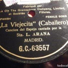 Discos de pizarra: DISCO PIZARRA GRAMOPHONE DE UNA CARA GC 63557 - LA VIEJECITA - CABALLERO - STA. L. ARANA. Lote 187407715