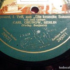 Discos de pizarra: DISCO PIZARRA GRAMOPHONE, 49271 - POTPURRI, I.TEIL, AUS DIE KEUSCHE SUSANNA, CARL GRUNOW, BERLÍN. Lote 187408612