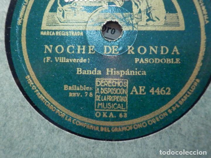 DISCO DE PIZARRA - LA VOZ DE SU AMO - AE 4462 - NOCHE DE RONDA - LOS CHAVALES - BANDA HISPÁNICA - (Música - Discos - Pizarra - Clásica, Ópera, Zarzuela y Marchas)