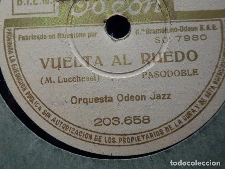 DISCO PIZARRA ODEON 203.658 - VUELTA AL RUEDO - ¿PERO QUE DICES... NERVIOSO? BANDA ODEON (Música - Discos - Pizarra - Clásica, Ópera, Zarzuela y Marchas)