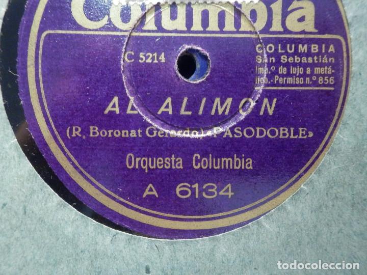 DISCO PIZARRA COLUMBIA A 6134 - AL ALIMON - MIGUEL DEL PINO - ORQUESTA COLUMBIA (Música - Discos - Pizarra - Clásica, Ópera, Zarzuela y Marchas)