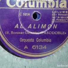 Discos de pizarra: DISCO PIZARRA COLUMBIA A 6134 - AL ALIMON - MIGUEL DEL PINO - ORQUESTA COLUMBIA. Lote 187630918