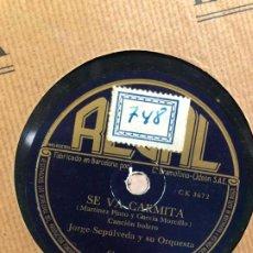 Discos de pizarra: DISCO PIZARRA SE VA CARMITA (MARTINEZ PINTO Y GARCIA MORCILLO) CANCION BOLERO. Lote 189354392