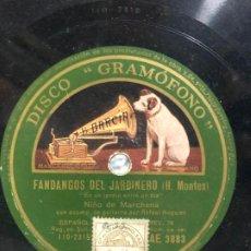 Discos de pizarra: DISCO PIZARRA FANDANGOS DEL JARDINERO - NIÑO DE MARCHENA. Lote 189356708