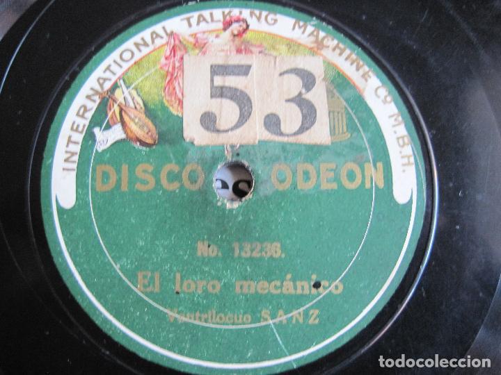 Discos de pizarra: DISCO DE PIZARRA VENTRILOCUO SANZ ESCENA DE LOS TOREROS/EL LORO MECANICO 78 RPM ODEON 13237 - Foto 2 - 189396822