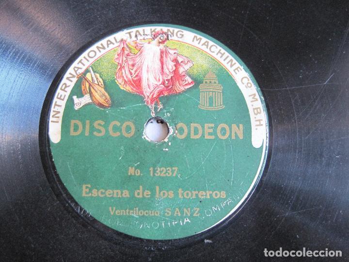 DISCO DE PIZARRA VENTRILOCUO SANZ ESCENA DE LOS TOREROS/EL LORO MECANICO 78 RPM ODEON 13237 (Música - Discos - Pizarra - Bandas Sonoras y Actores )