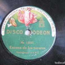 Discos de pizarra: DISCO DE PIZARRA VENTRILOCUO SANZ ESCENA DE LOS TOREROS/EL LORO MECANICO 78 RPM ODEON 13237. Lote 189396822