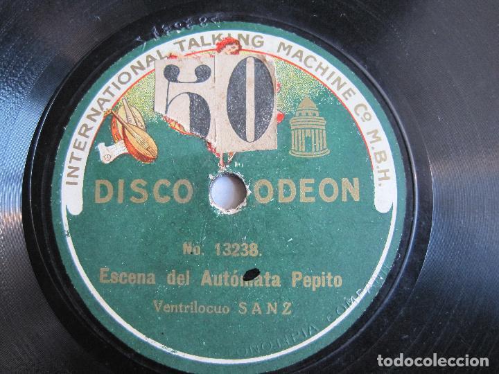 DISCO DE PIZARRA VENTRILOCUO SANZ ESCENA DEL AUTOMATA PEPITO 78 RPM ODEON 13236 (Música - Discos - Pizarra - Bandas Sonoras y Actores )