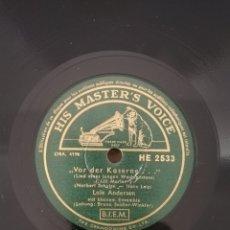 Discos de pizarra: DISCO 78 RPM -HIS MASTER'S VOICE- LALE ANDERSEN-(MARLENE DIETRICH)-LILI MARLEN/DREI ROTE ROSEN. Lote 189579655
