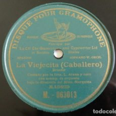 Discos de pizarra: LUCRECIA ARANA - LA VIEJECITA, BRINDIS (CABALLERO) - DISQUE POUR GRAMOPHONE M. 063013 . Lote 191301226