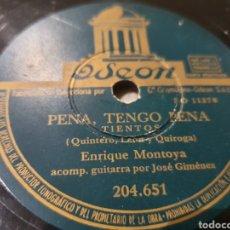 Discos de pizarra: DISCO 78 RPM ENRIQUE MONTOYA. Lote 191375326