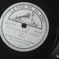 Discos de pizarra: STOKOWSKI - TOCATA Y FUGA DISCO DE PIZARRA DE 12 PULGADAS. Lote 191384720