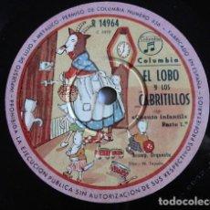 Discos de pizarra: EL LOBO Y LOS CABRITILLOS, CUENTO INFANTIL - COLUMBIA R 14964. Lote 191553448