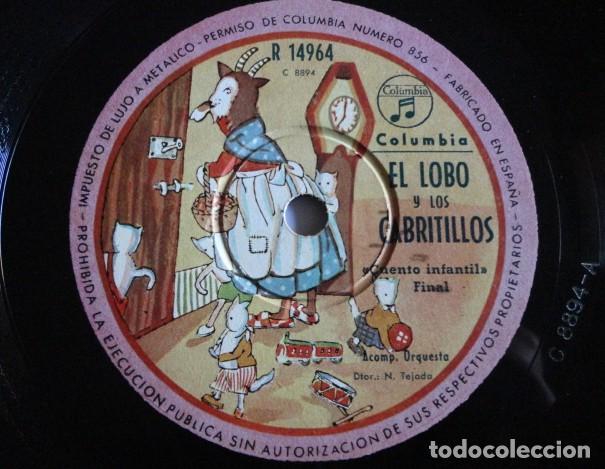 Discos de pizarra: El lobo y los cabritillos, Cuento infantil - Columbia R 14964 - Foto 2 - 191553448