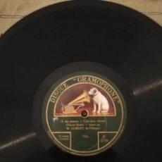 Discos de pizarra: DISCO DE PIZARRA 78RPM DISQUE GRAMOPHONE - M. ALIBERT- HÉ PRENDS TO TEMPS/A TES AMOURS.. Lote 192152506