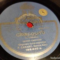 Disques en gomme-laque: ORQUESTA TIPICA F.CANARO CHINGOLITO/A TODA VELA 10 25 CTMS ODEON 182.340 ESPAÑA SPAIN. Lote 192578371