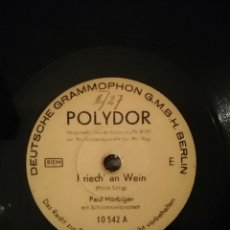 Discos de pizarra: DISCO DE PIZARRA 78RPM. PAUL HÓRBIGER-I RIECH AN WEIN/WIE MA SAN, SO SAN MA.. Lote 192867620
