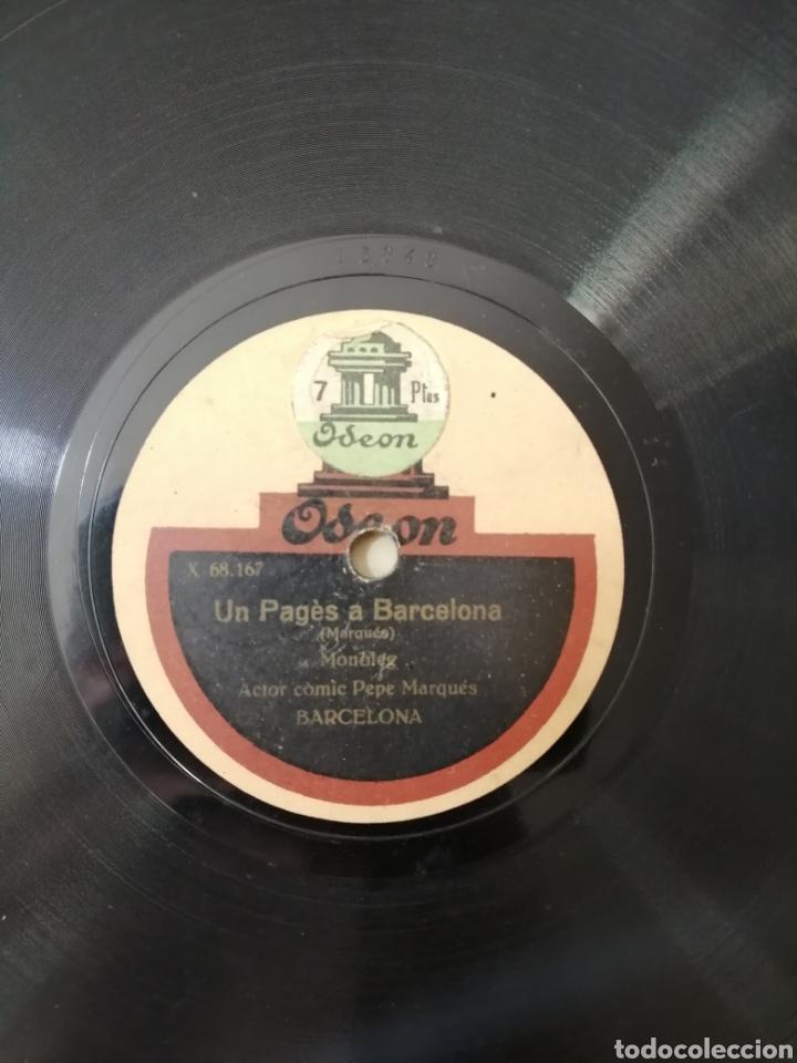 Discos de pizarra: 78 rpm Disco de pizarra. Un pagès a Barcelona / Enredos de Familia. Odeon - Foto 3 - 192975167