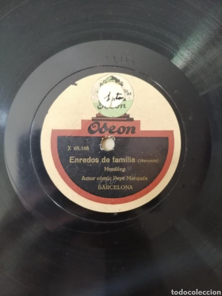 Discos de pizarra: 78 rpm Disco de pizarra. Un pagès a Barcelona / Enredos de Familia. Odeon - Foto 4 - 192975167