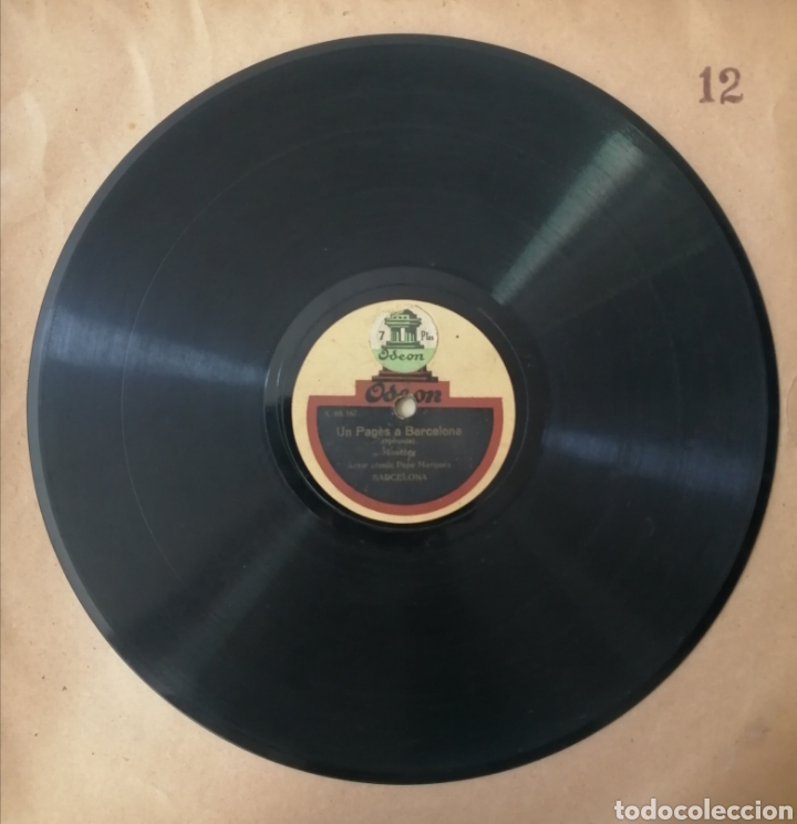 78 RPM DISCO DE PIZARRA. UN PAGÈS A BARCELONA / ENREDOS DE FAMILIA. ODEON (Música - Discos - Pizarra - Bandas Sonoras y Actores )