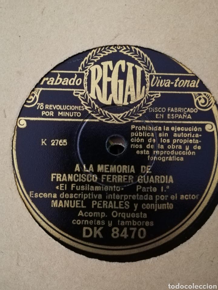 DISCO PIZARRA 78RPM EL FUSILAMIENTO - A LA MEMORIA DE FRANCISCO FERRER GUARDIA (Música - Discos - Pizarra - Bandas Sonoras y Actores )