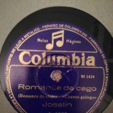 Disques en gomme-laque: DISCO PIZARRA 78RPM-JOSELIN-O RETRATO/ROMANCE DE CEGO. Lote 193440510