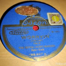 Discos de pizarra: THE ROYAL MUSIC MAKERS WORRYIN' /I LOVE NO ONE BUT YOU 10'' 25 CTMS ODEON 182.227 ESPAÑA SPAIN . Lote 193791418