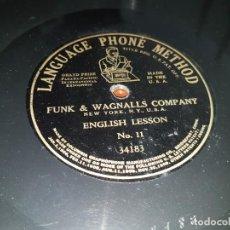 Discos de pizarra: CURSO DE INGLÉS EN DISCOS DE PIZARRA DE PRINCIPIOS DEL SIGLO XX - LANGUAGE PHONE METHOD. Lote 193866217