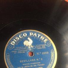 Discos de pizarra: SEVILLANAS N3 POR LA NIÑA DE LOS PEINES. Lote 193924821
