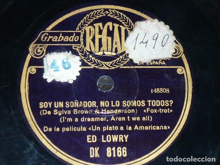Discos de pizarra: DISCO 78 RPM - REGAL - ED LOWRY - UN PLATO A LA AMERICANA - FILM - FOXTROT - JAZZ - PIZARRA - Foto 2 - 194067103
