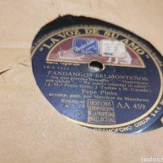 Discos de pizarra: 78 RPM PEPE EL PINTO/ FANDANGOS BELMENTEÑOS. Lote 194195837
