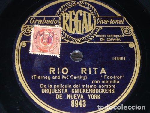 DISCO 78 RPM - REGAL - ORQUESTA KNICKERBOCKERS - NEW YORK - RIO RITA - FILM - FOXTROT - PIZARRA (Música - Discos - Pizarra - Bandas Sonoras y Actores )