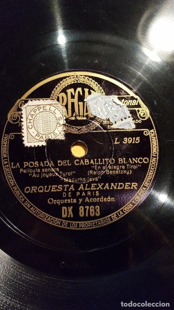 Discos de pizarra: DISCO 78 RPM - REGAL - ORQUESTA ALEXANDER - PARIS - EL PARADOR DEL CABALLO BLANCO - JAZZ - PIZARRA - Foto 2 - 194280910