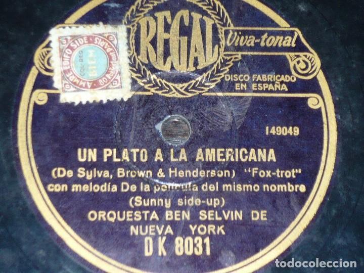 DISCO 78 RPM - REGAL - ORQUESTA BEN SELVIN - NEW YORK - UN PLATO A LA AMERICANA - FILM - PIZARRA (Música - Discos - Pizarra - Jazz, Blues, R&B, Soul y Gospel)