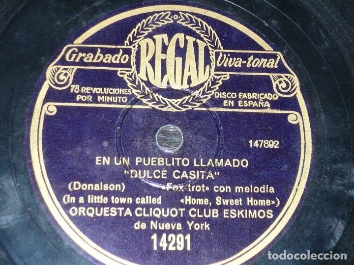 Discos de pizarra: DISCO 78 RPM - REGAL - ORQUESTA CLIQUOT CLUB ESKIMOS - NUEVA YORK - OLAF - FOXTROT - PIZARRA - Foto 2 - 194287222