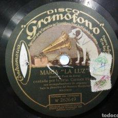 Discos de pizarra: DISCO DE PIZARRA SRTA. CARMEN FLORES MARIA '' LA LUZ'' /. Lote 194331154
