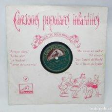 Discos de pizarra: ANTIGUO DISCO DE PIZARRA, CANCIONES POPULARES INFANTILES, CORAL DE NIÑAS Y ORQUESTA, ED. LA VOZ DE S. Lote 194369992